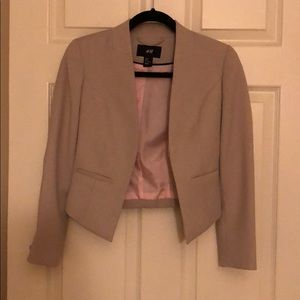 H&M cropped blazer jacket grey/beige size 2